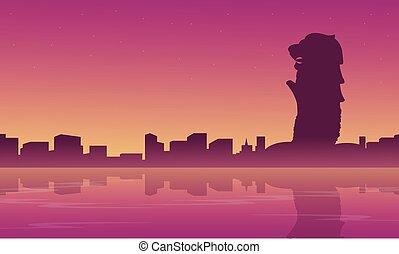 horizon ville, silhouettes, paysage, singapour