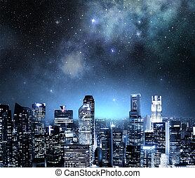 horizon ville, soir, sous, a, ciel étoilé