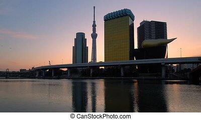 horizon, ville, sunrise., tokyo