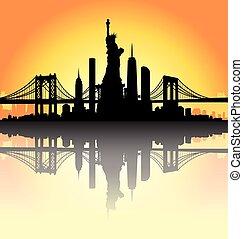 horizon ville, vecteur, coucher soleil, york, nouveau