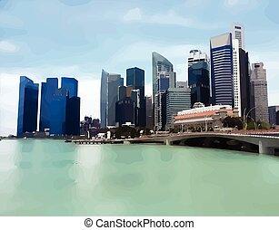 horizon ville, vecteur, gratte-ciel, cityscape, vue