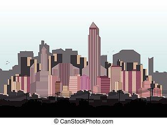 horizon ville, vecteur, -, illustration