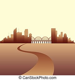 horizon ville, vecteur, illustration.