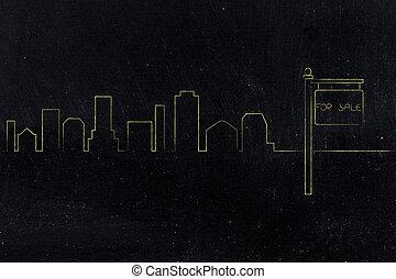 horizon ville, vente, fond, signe