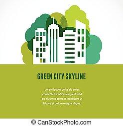 horizon ville, vert, icône