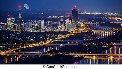 horizon ville, vienne, nuit
