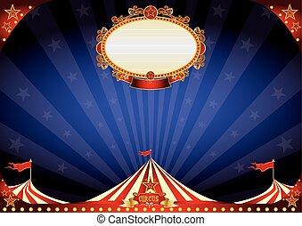 horizontális, cirkusz, háttér, éjszaka