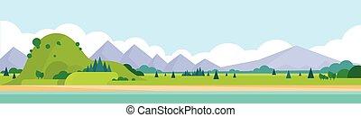 horizontális, hegylánc, nyár, táj