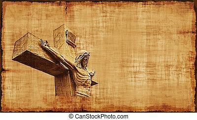horizontális, keresztre feszítés, -, pergament, jézus