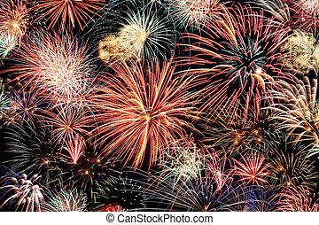 horizontális, tűzijáték, többszínű