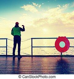 horizont, geländer, aus, morgen, schauen, stehen, meer, maulwurf, mann