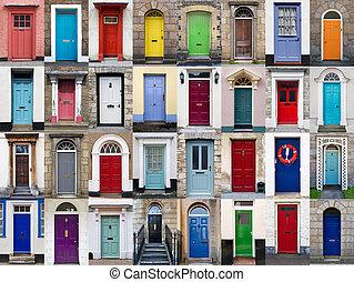 horizontaal, 32, collage, deuren, voorkant