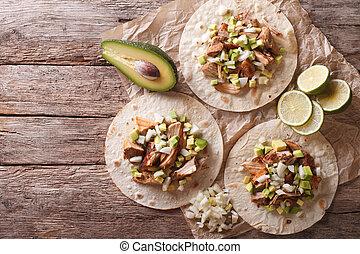 horizontaal, avocado., carnitas, food:, aanzicht, uien, bovenzijde, tortilla, mexicaanse