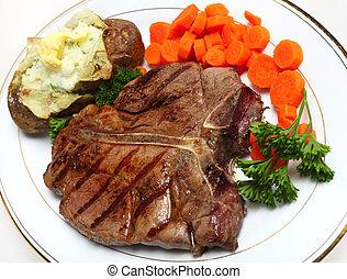 horizontaal, biefstuk, t-benen uit, boven