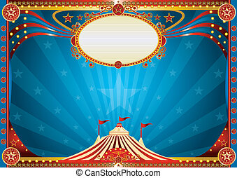 horizontaal, blauwe , circus, achtergrond