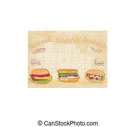 horizontaal, broodje, grunge, achtergrond