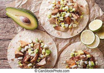 horizontaal, carnitas, avocado, close-up., aanzicht, uien, bovenzijde, tortilla