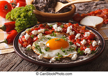 horizontaal, close-up, food:, huevos, tafel., rancheros, mexicaanse
