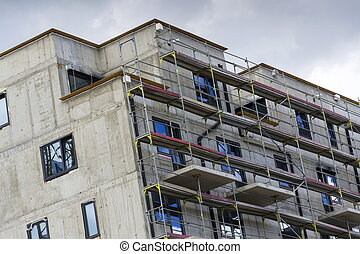 horizontaal, foto, van, woning, flat, gebouw stek, met, steiger