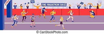 horizontaal, hardloop, marathon, samenstelling