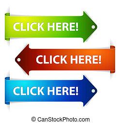 horizontaal, kleurrijke, klikken, here!, -, set, pijl, ...