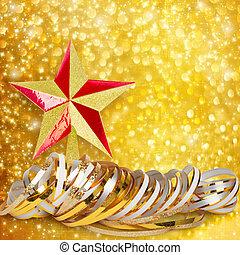 horizontaal, lint, abstract, papier, besneeuwd, goud, achtergrond, kerstmis, ster