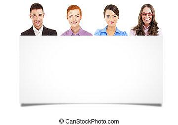 horizontaal, of, vasthouden, vrijstaand, tekst, businesspeople, meldingsbord, vier, anders, advertentie, leeg, professioneel, witte , spandoek, jouw