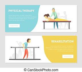 horizontaal, pagina, set, opleiding, tussenverdieping, rehabilitatie, fysiotherapie, vector, illustratie, banieren, lichamelijke behandeling, masseren, oefeningen
