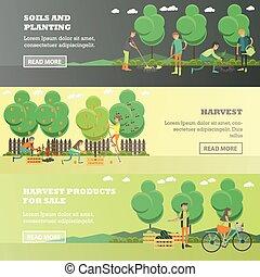 horizontaal, plat, concept, tuinieren, set, vector, banieren, style.