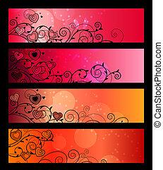 horizontaal, rood, banieren