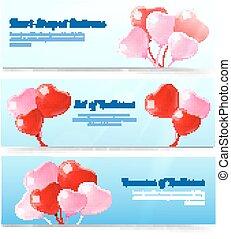 horizontaal, set, ballons, banieren, kleurrijke
