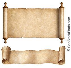horizontaal, set, rollen, vrijstaand, of, papier, witte , perkament