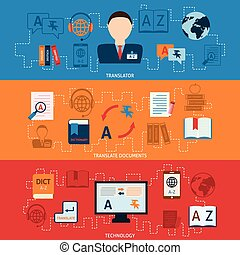 horizontaal, set, vertaling, banieren, woordenboek
