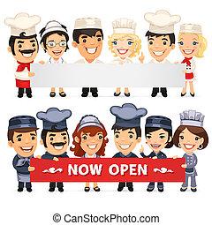 horizontaal, spandoek, chef-koks, lege, het voorstellen