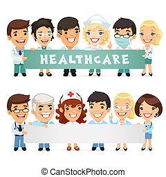horizontaal, spandoek, het voorstellen, lege, artsen
