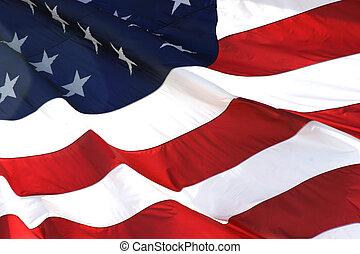 horizontaal, vlag, amerikaan, aanzicht