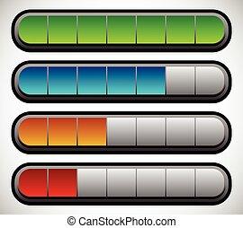 horizontais, barras., carregando, indicators., progresso, nível, metros
