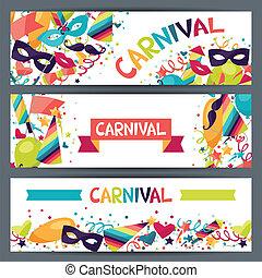 horizontais, carnaval, ícones, bandeiras, objects., celebração