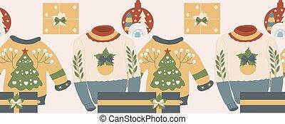 horizontais, decorações, borda, natal, swaters