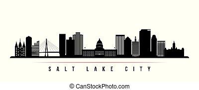 horizontais, lago, skyline, banner., cidade, sal