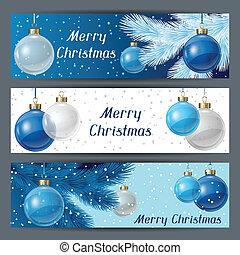 horizontais, natal, modelo, balls., feriado, bandeiras
