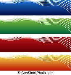 horizontais, onda, bandeira