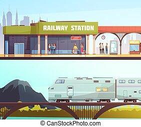 horizontais, ponte, bandeiras, estação, estrada ferro