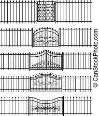 horizontais, portões, ferro, seamless, cerca