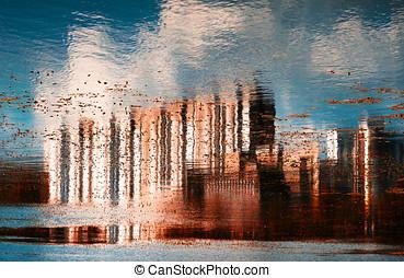 horizontais, vívido, vermelho, abstratos, cidade, reflexão, fundo