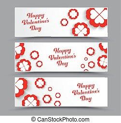 horizontais, valentine, day., desenho, bandeiras, branca, feliz