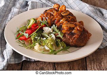 horizontais, vegetal, salisbury, close-up., bife, salada, ...