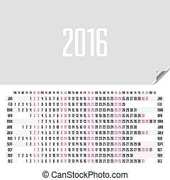 horizontal, 2016, calendrier