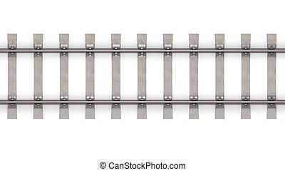 horizontal, 3d, sommet, rails, vue