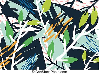 Horizontal abstract backdrop with forest thicket, tree...